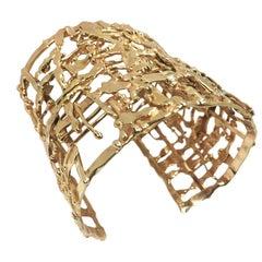 Nina Lustig Large Yellow Gold Mid-Century Modernist Cuff Bracelet