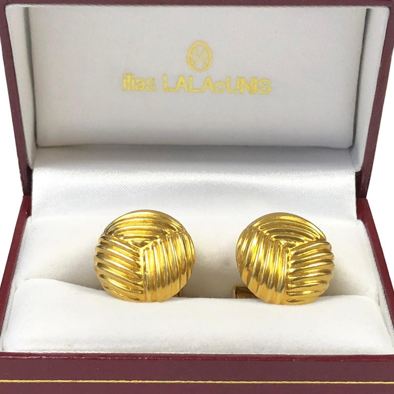 Lalaounis Yellow Gold Cufflinks In Excellent Condition For Sale In Chicago, IL
