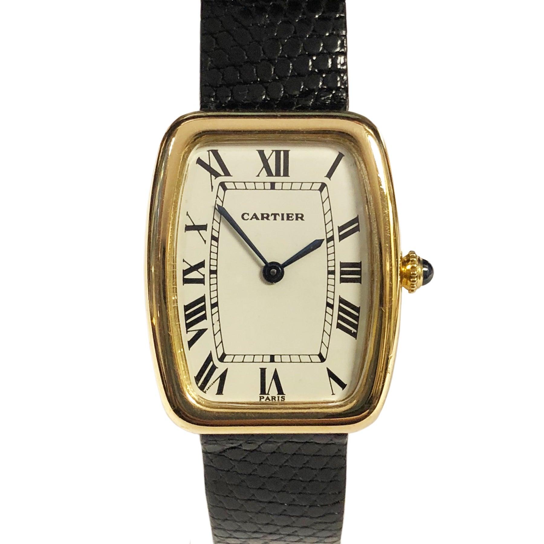 Cartier Paris Vintage Yellow Gold Faberge Tonneau Manual Wind Wristwatch