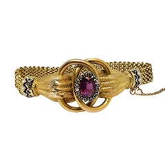 Victorian Yellow Gold and Gem Set Hands Bracelet