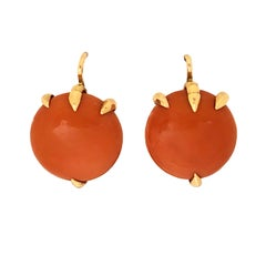 Antique Russian Gold and Large Coral Button Earrings