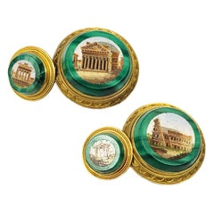 Antique Gold Malachite and Micro Mosaic Cufflinks Owned and Worn by Jerry Lewis