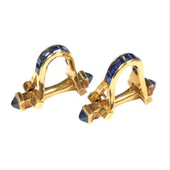 French Yellow Gold and Sapphire Cufflinks