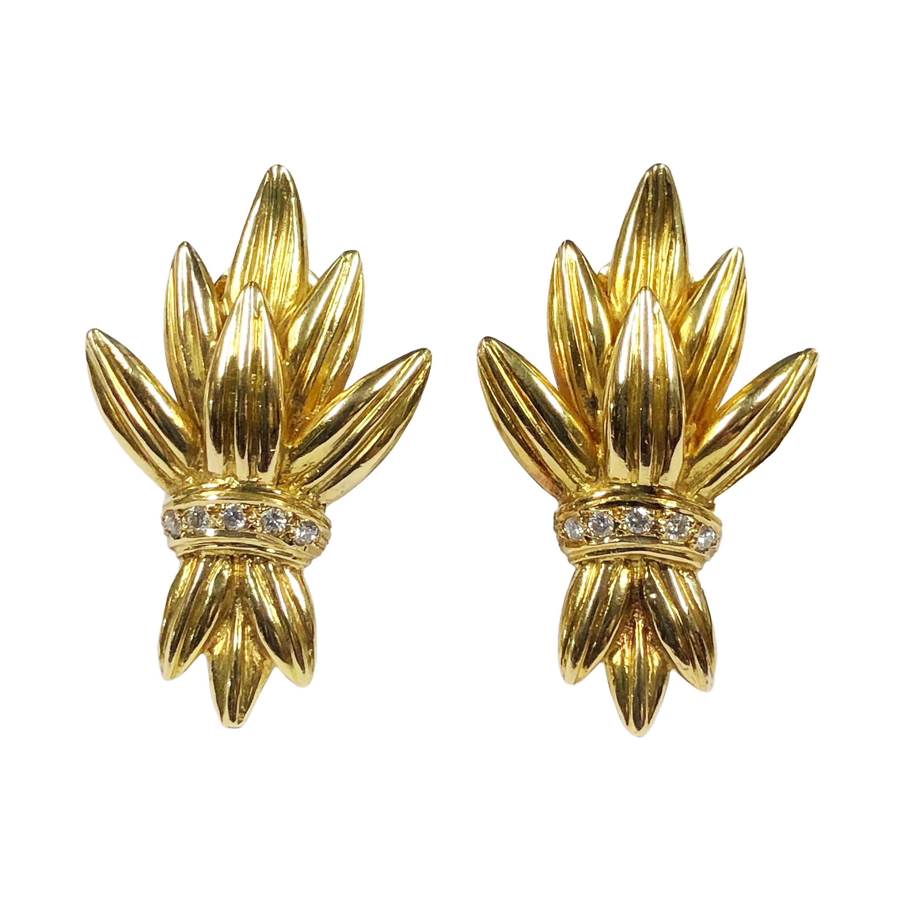 Lalaounis Yellow Gold and Diamond Earrings