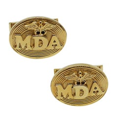 Hollywood Icon Jerry Lewis Owned and Worn Gold Tone MDA Telethon Cufflinks