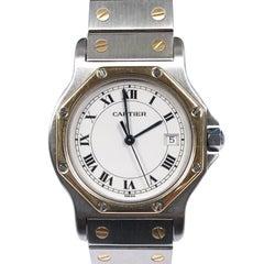 Cartier Santos Mid Size Steel and Gold Quartz Wristwatch