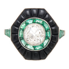 Cushion Cut Diamond Emerald Onyx Target Ring