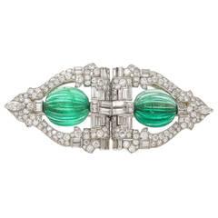 Raymond Yard Emerald Diamond Platinum Dress Clips