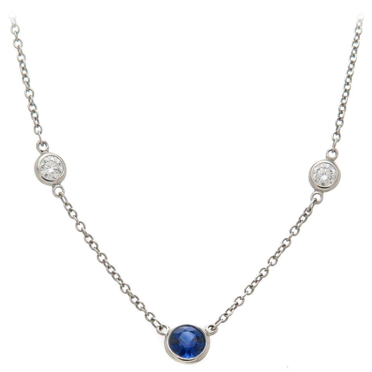 Tiffany And Co Elsa Peretti Sapphire Diamond Platinum