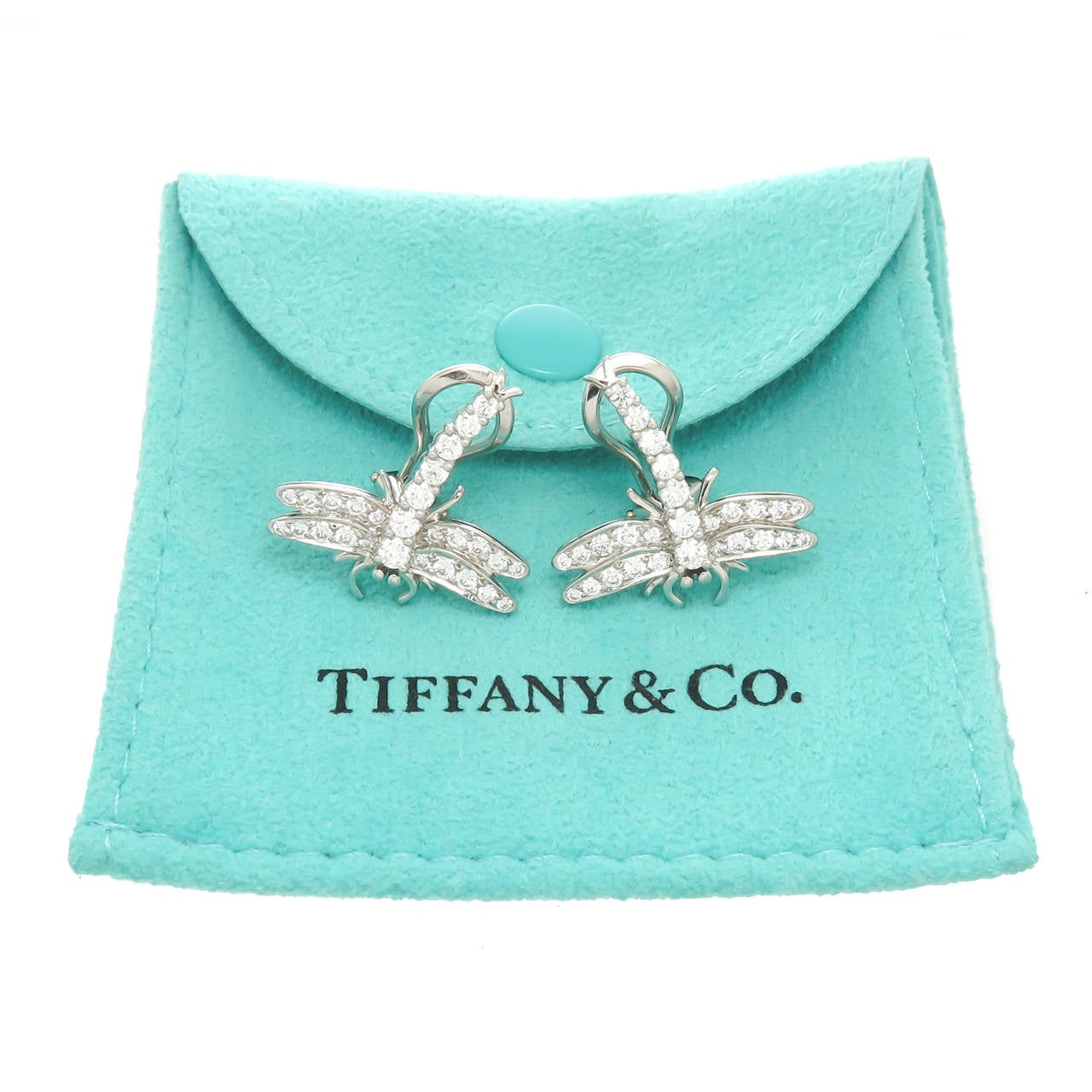 Tiffany And Co Diamond Platinum Dragonfly Earrings At 1stdibs