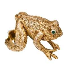 Circa: 1970s Large Gold Frog Ring