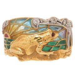 Masriera Plique-a-Jour Enamel Gold Frog Ring