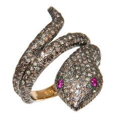 Rose Cut Diamonds Snake Ring