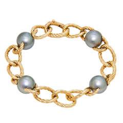 David Yurman Tahitian Pearl and Gold Bracelet