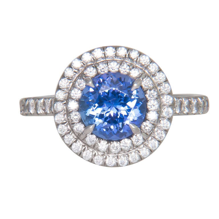 a5c4d5181 Tiffany & Company Platinum, Diamond and Tanzanite Ring from the Soleste  Collection. Fine color