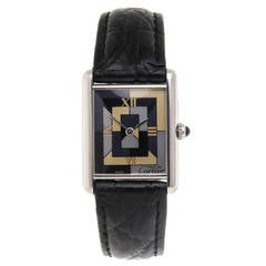 Cartier Sterling Silver Limited Edition Art Deco Tank Quartz Wristwatch
