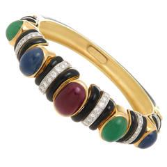 David Webb Enamel Gem Set Gold Platinum Bangle Bracelet