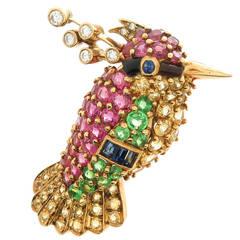 Van Cleef & Arpels Gem Set Gold Humming Bird Brooch