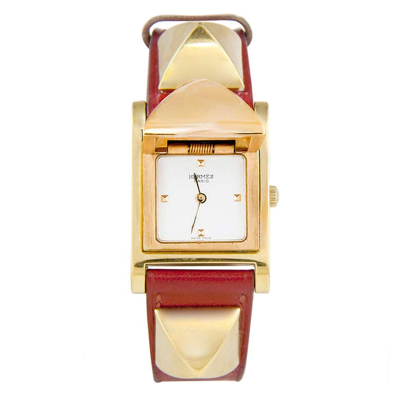 Hermes Lady's Gilt Medor Wristwatch with concealed dial circa 2010 2