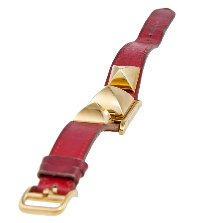 Hermes Lady's Gilt Medor Wristwatch with concealed dial circa 2010 3