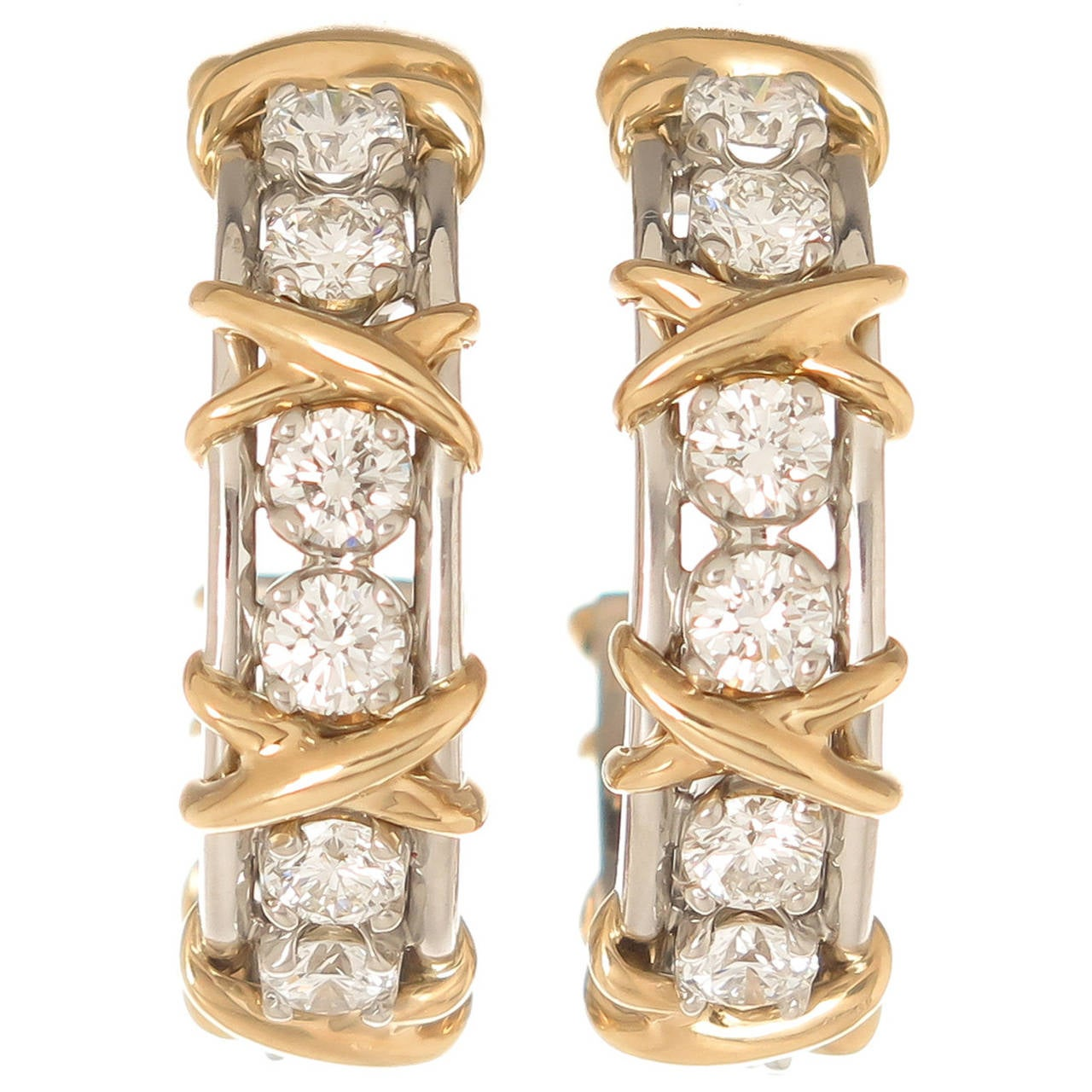 b8177bf363eb1 Tiffany & Co. Schlumberger Diamond Gold Platinum X Hoop Earrings