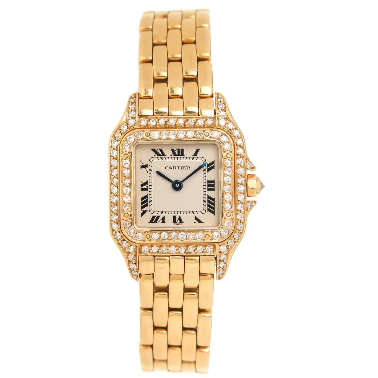 Cartier Lady's Yellow Gold Diamond Panther Quartz ...