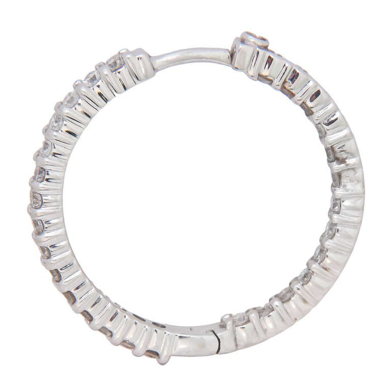 Roberto Coin Diamond White Gold Inside Out Hoop Earrings 2