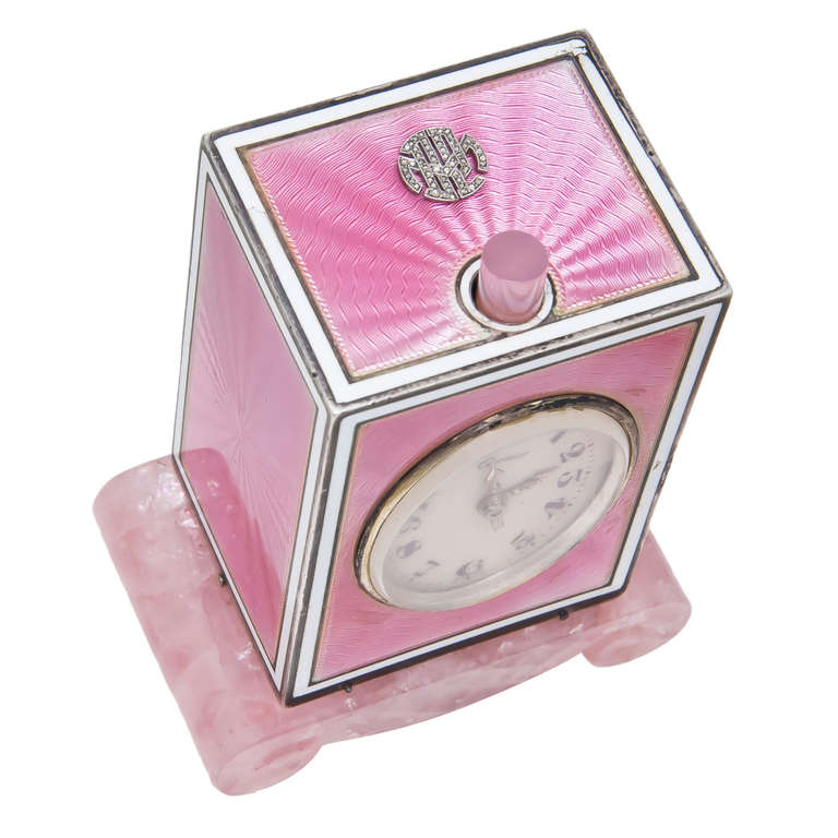 Cartier Sterling Silver and Pink Enamel Minute Repeater Desk Clock circa 1920s 3
