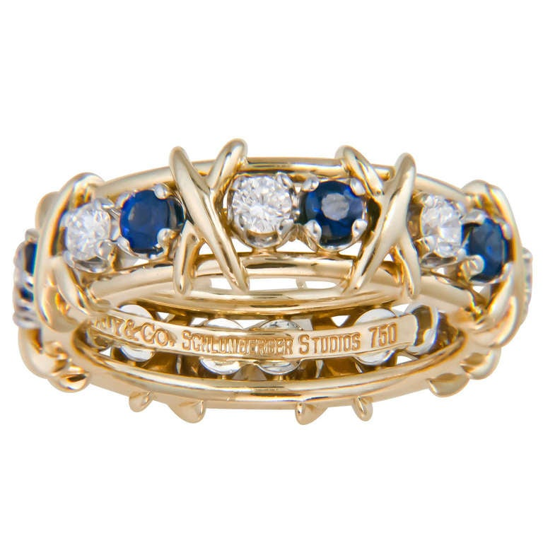 Tiffany And Co Schlumberger Sapphire Diamond X Ring At
