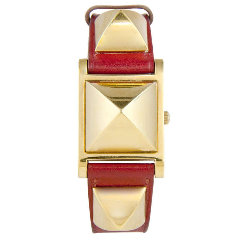 Hermes Lady's Gilt Medor Wristwatch with concealed dial circa 2010 1