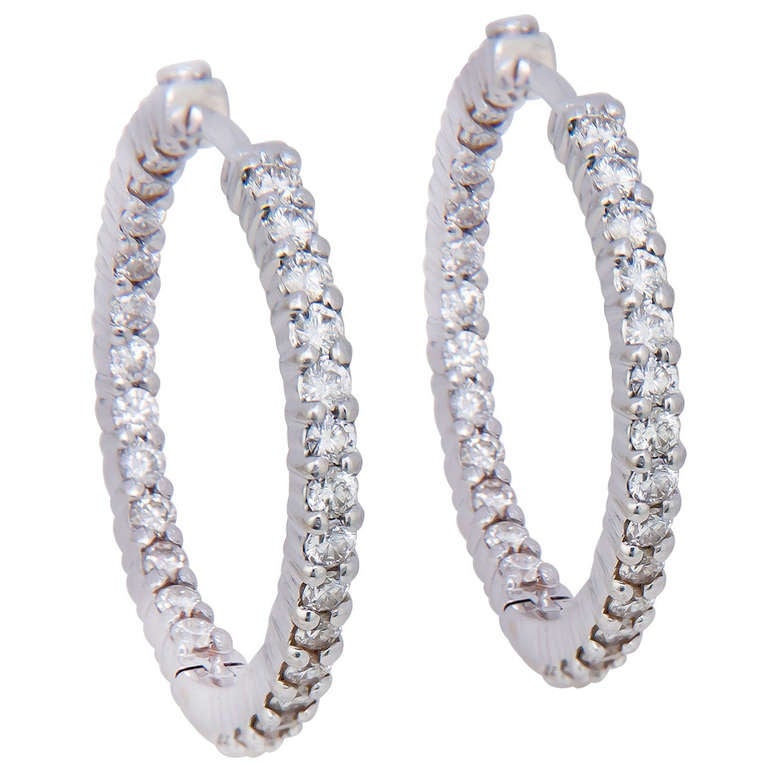 Roberto Coin Diamond White Gold Inside Out Hoop Earrings 1