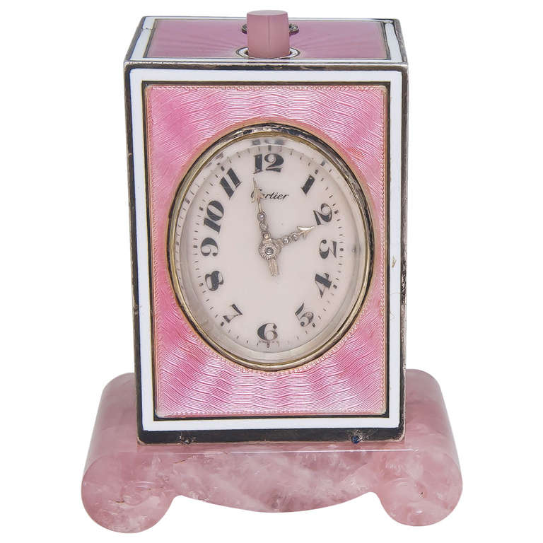 Cartier Sterling Silver and Pink Enamel Minute Repeater Desk Clock circa 1920s 1