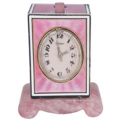 Cartier Sterling Silver and Pink Enamel Minute Repeater Desk Clock circa 1920s