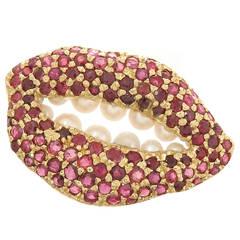 Salvador Dali Iconic Gold and Gem set Lips Brooch