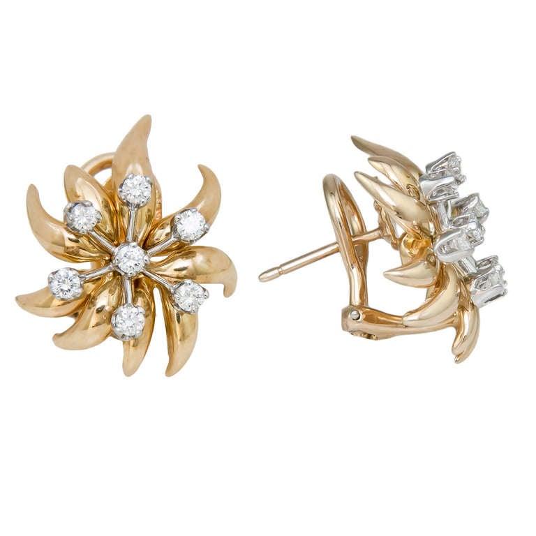 Tiffany & Co. Schlumberger Flame Diamond Ear Clips 2