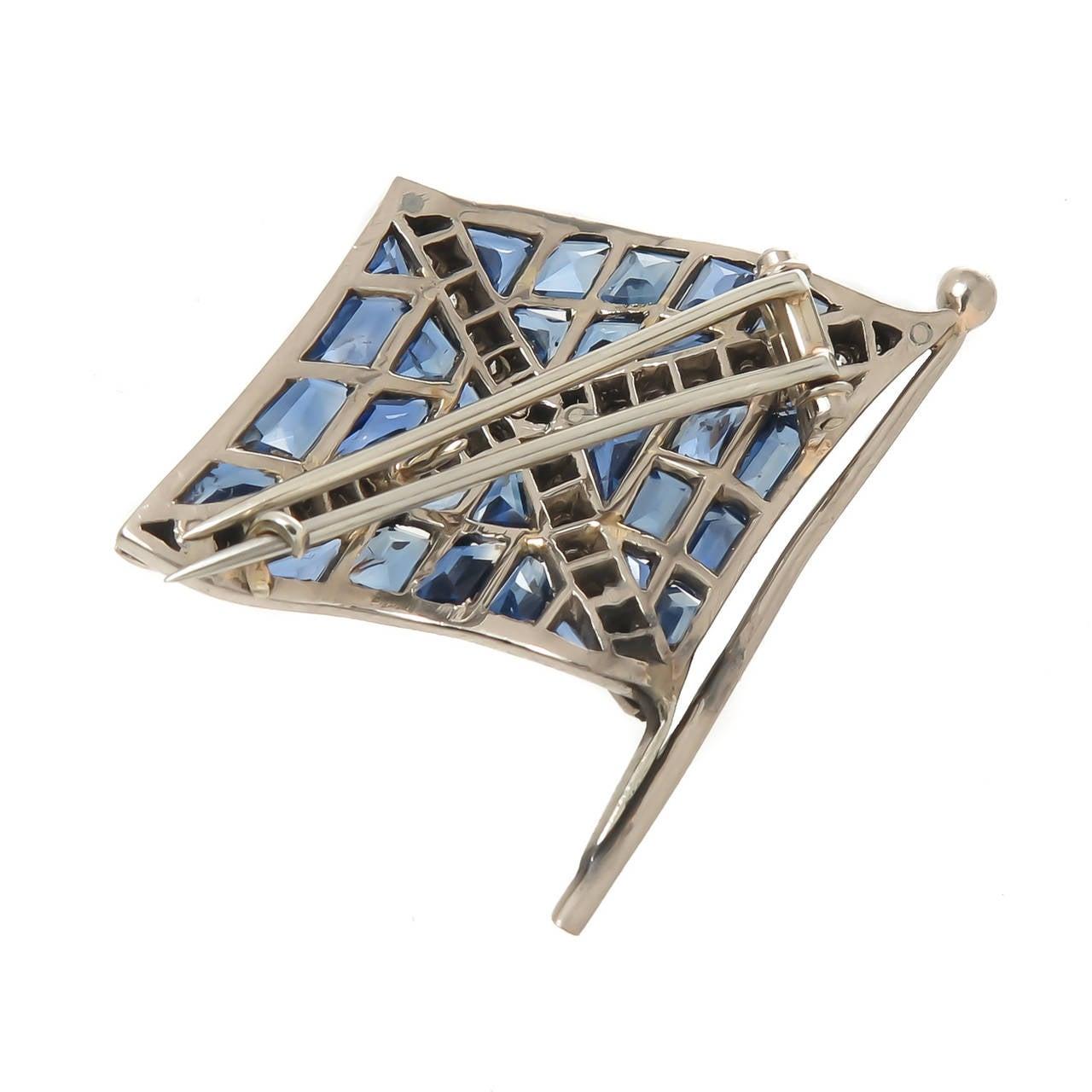 1930s Sapphire Diamond Platinum Flag Brooch 4
