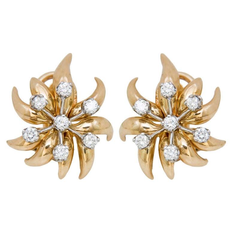 Tiffany & Co. Schlumberger Flame Diamond Ear Clips 1