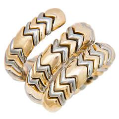 Bulgari Spiga Tri Color Gold Snake Ring