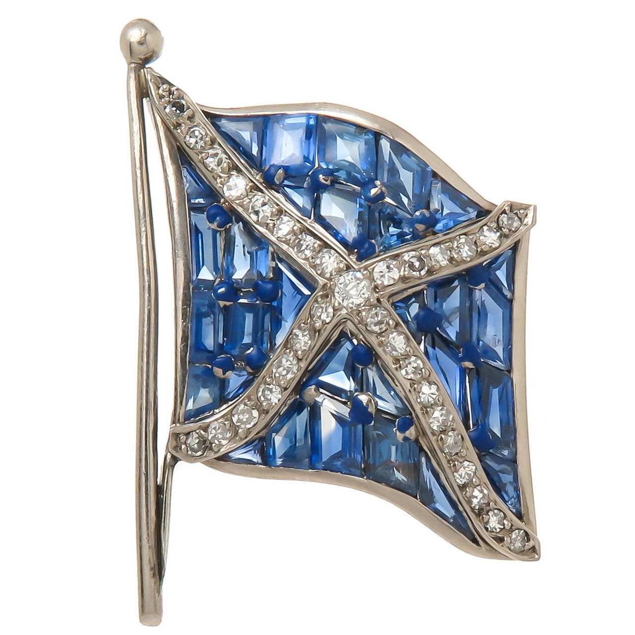 1930s Sapphire Diamond Platinum Flag Brooch 1