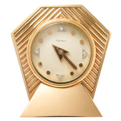 1950s Cartier Diamond Numeral Gold Clock
