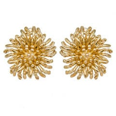Tiffany & Co. Yellow Gold Flower Ear Clips