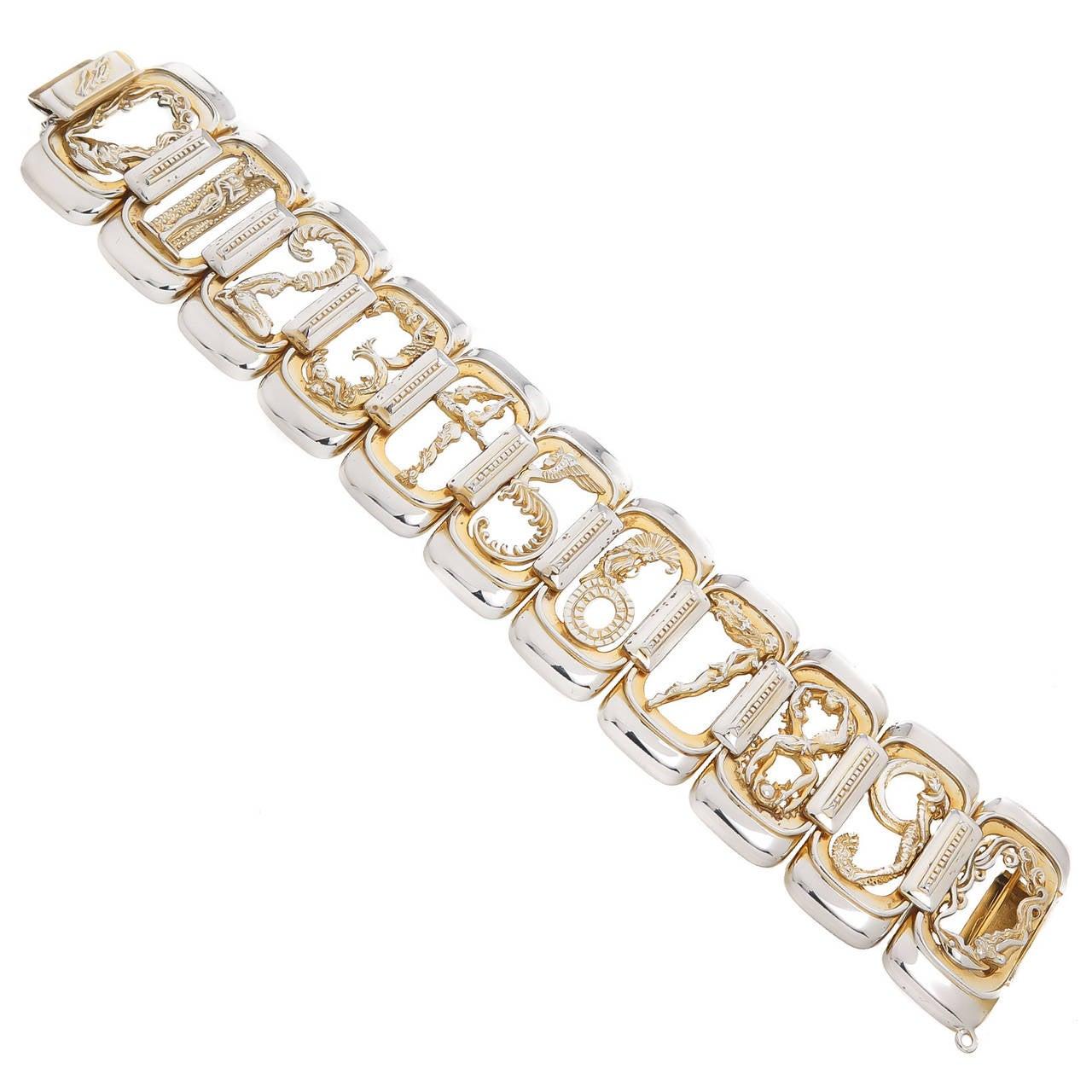 Erte Silver Gold Numbers Bracelet 1