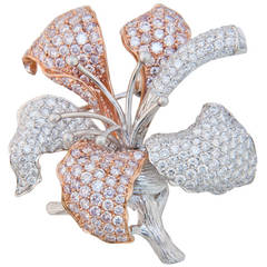 White and Pink Diamond Orchid Brooch