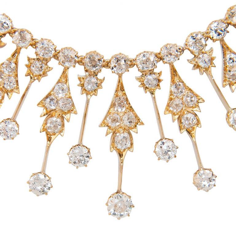 Circa 1900 Diamond Gold Fringe Necklace 2