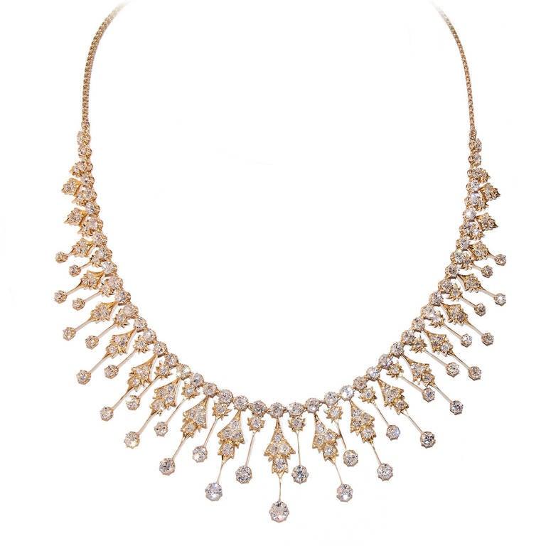 Circa 1900 Diamond Gold Fringe Necklace 1