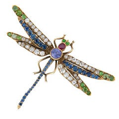 Art Nouveau Gem Set Gold Dragonfly Brooch