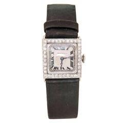 Meylan Lady's Platinum and Diamond Wristwatch Retailed by Dreicer & Co