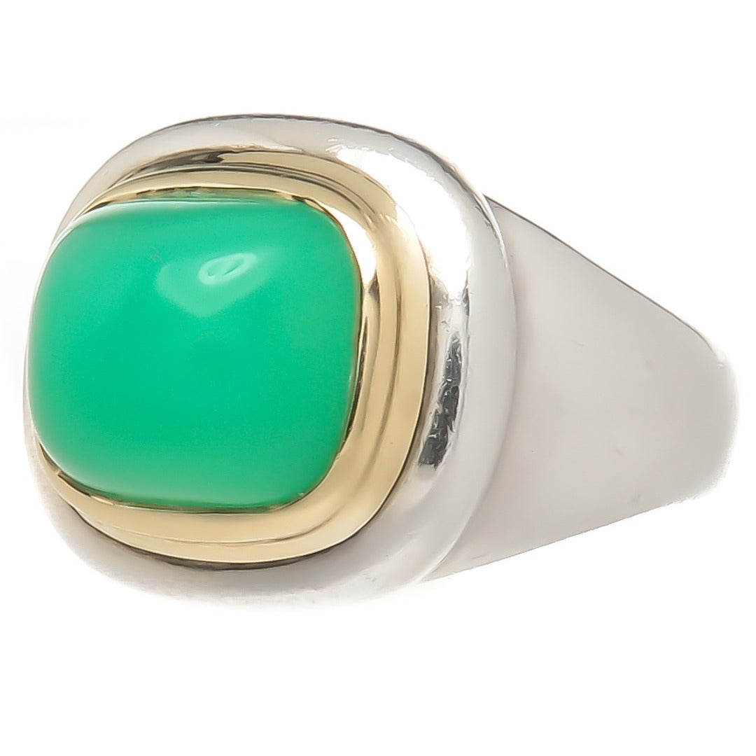 tiffany and co paloma picasso chrysoprase silver gold dome ring at 1stdibs. Black Bedroom Furniture Sets. Home Design Ideas