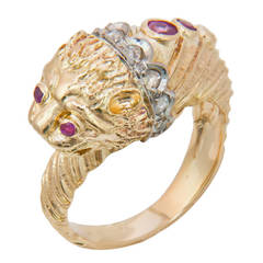 Lalaounis Gem Set Gold Lion Head Ring