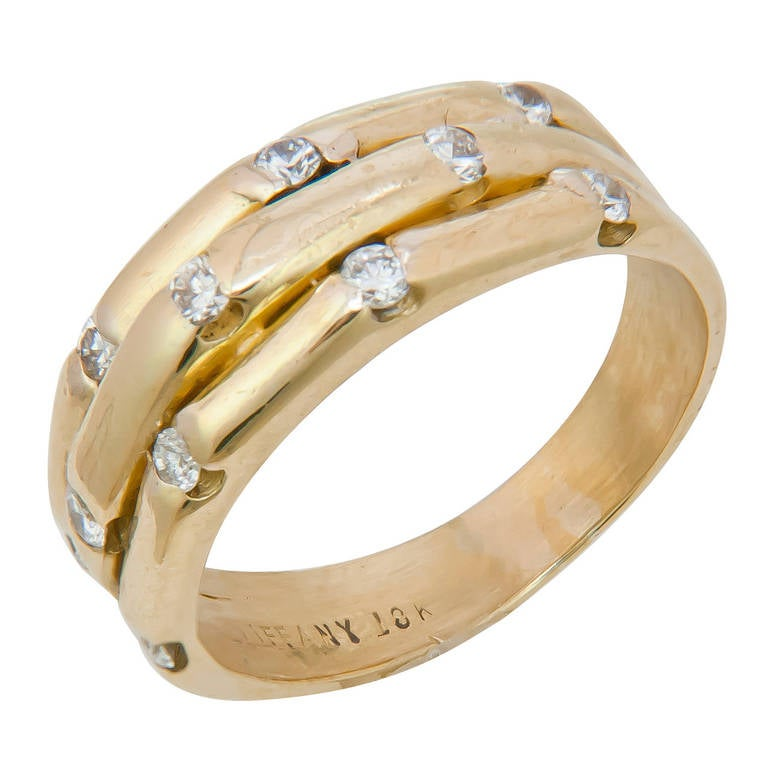 Tiffany and Co. Diamond Gold Bamboo Ring at 1stdibs